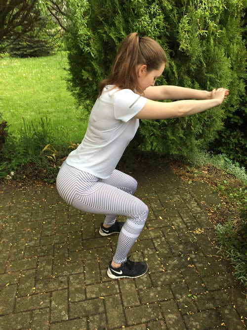 Samber Sport Leggings Kniebeuge Outfit Weiss