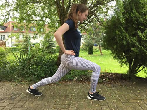 Samber Sport Leggings seitlich beim Stretchen