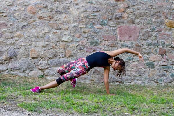 Yoga Pose in Capri Leggings